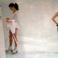 Nancy Kerrigan and Tonya Harding at a practice session at the 1994 Olympics in Lillehammer, Norway.