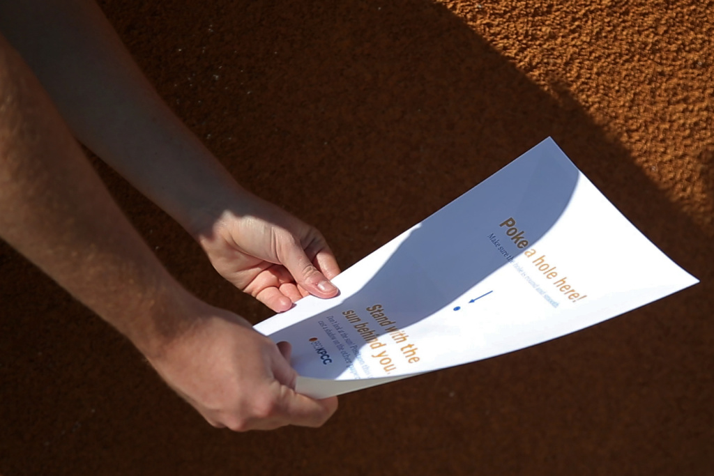 Make your own eclipse projector using just two pieces of paper and a pin. KPCC shows you how!