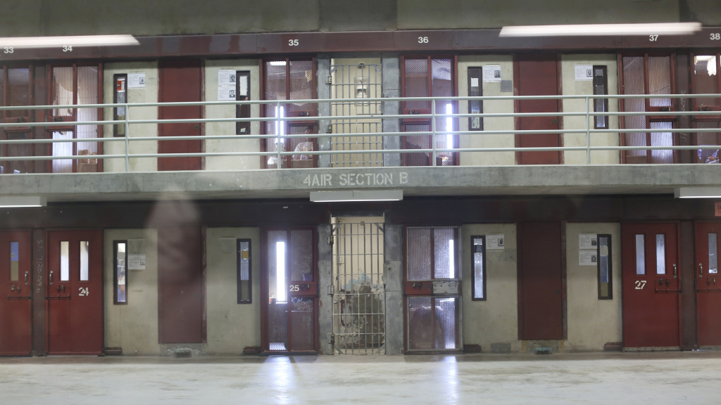 A row of Secure Housing Units at the Corcoran State Prison in California in 2013. The prison has a separate facility built for  inmates held in solitary.