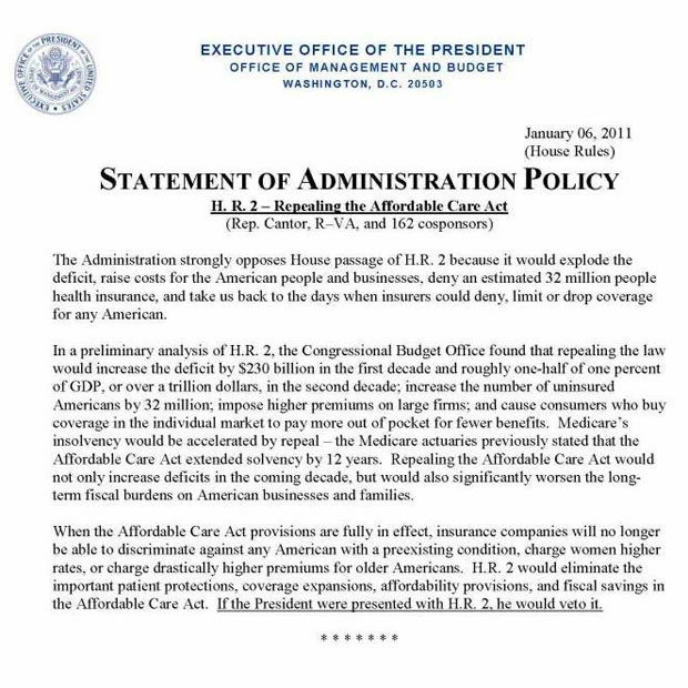 Statement of Administration Policy on Affordable Care Act