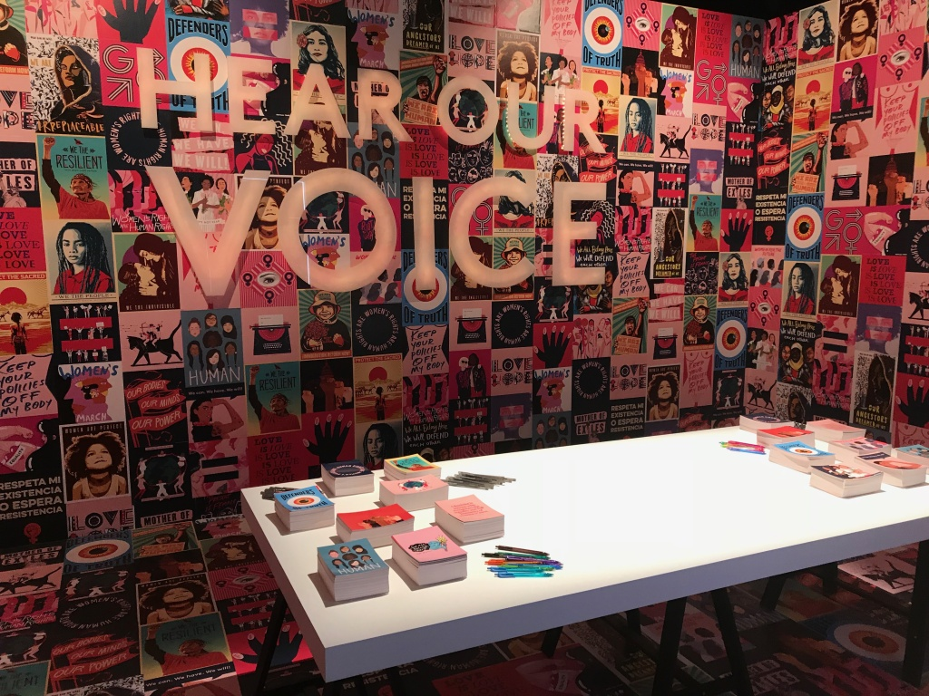 Hear our Voice is in collaboration with the Women's March movement. Visitors are encouraged to write letters to express their opinions to their government representatives.