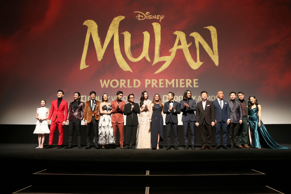 (L-R) Crystal Rao, Chen Tang, Nelson Lee, Jimmy Wong, Rosalind Chao, Yoson An, Jet Li, Yifei Liu, Director Niki Caro, Donnie Yen, Jason Scott Lee, Tzi Ma, Ron Yuan, Jun Yu, Doua Moua, and Xana Tang speak onstage during the World Premiere of Disney's 'MULAN' at the Dolby Theatre on March 09, 2020 in Hollywood, California.