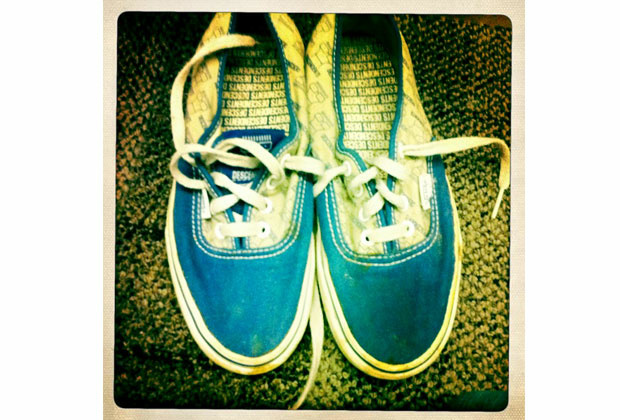 My Vans special edition Descendents shoes. They're well-worn and well- loved.