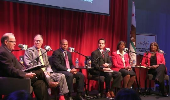 Five candidates running for Los Angeles County district attorney took to the stage of the Crawford Family Forum Tuesday evening to participate in a debate moderated by AirTalk host Larry Mantle.