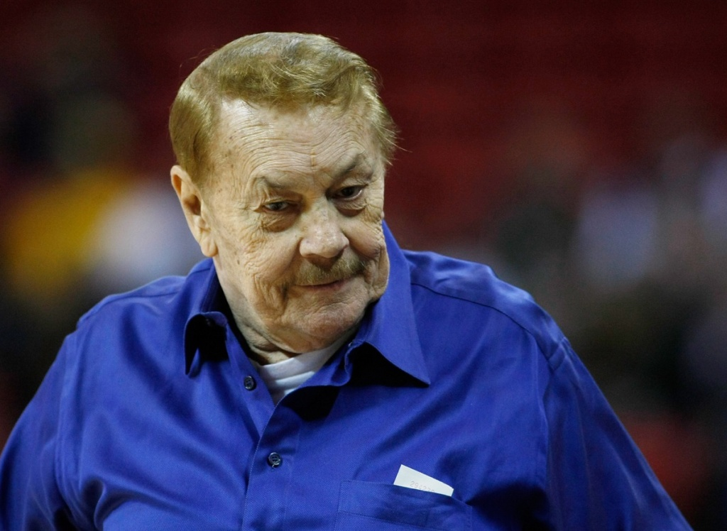 Los Angeles Lakers owner Jerry Buss appears before his team's preseason game against the Sacramento Kings at the Thomas & Mack Center Oct. 12, 2008 in Las Vegas, Nevada.