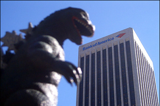 Godzilla eschews Hollywood's red carpet, deciding instead to make a withdrawal from his downtown bank account.