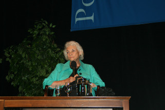 Retired United States Supreme Court Justice Sandra Day O'Connor listens to a question from a student after her talk at Pomona College, Tuesday, March 30, 2010.