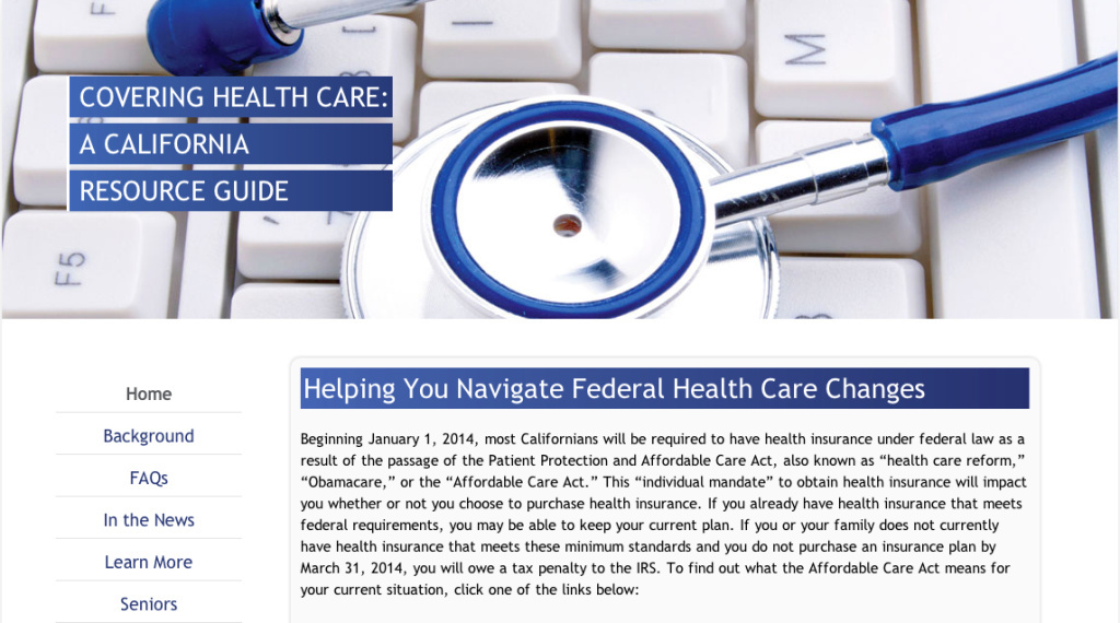 Screenshot of the website CoveringHealthcareca.com, created by California's GOP assembly.
