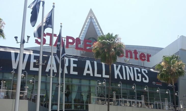 Banner above Staples Center reading