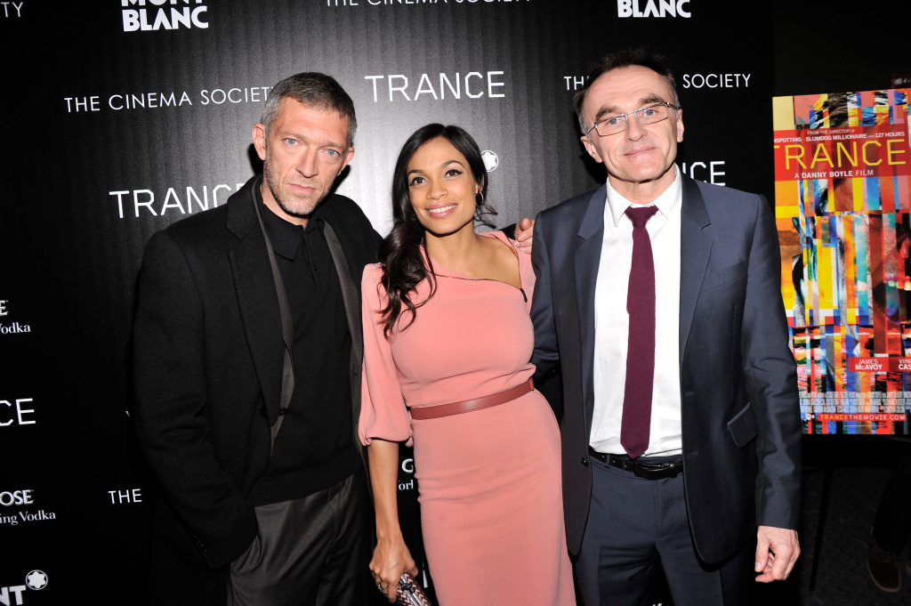 Actor Vincent Cassel, actress Rosario Dawson and director Danny Boyle attend the premiere of Fox Searchlight Pictures'