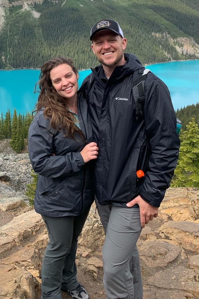 Marine Veteran Forest Hensley poses with his wife at Banff National Park in Canada. The Tampa Veterans Treatment Court allowed the hiking trip because it was in line with Hensley's newly sober lifestyle.