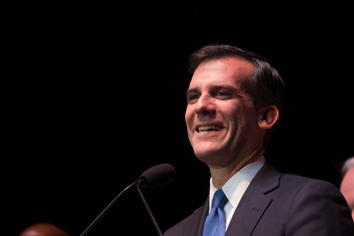Eric Garcetti delivers a speech on May 21, 2013.
