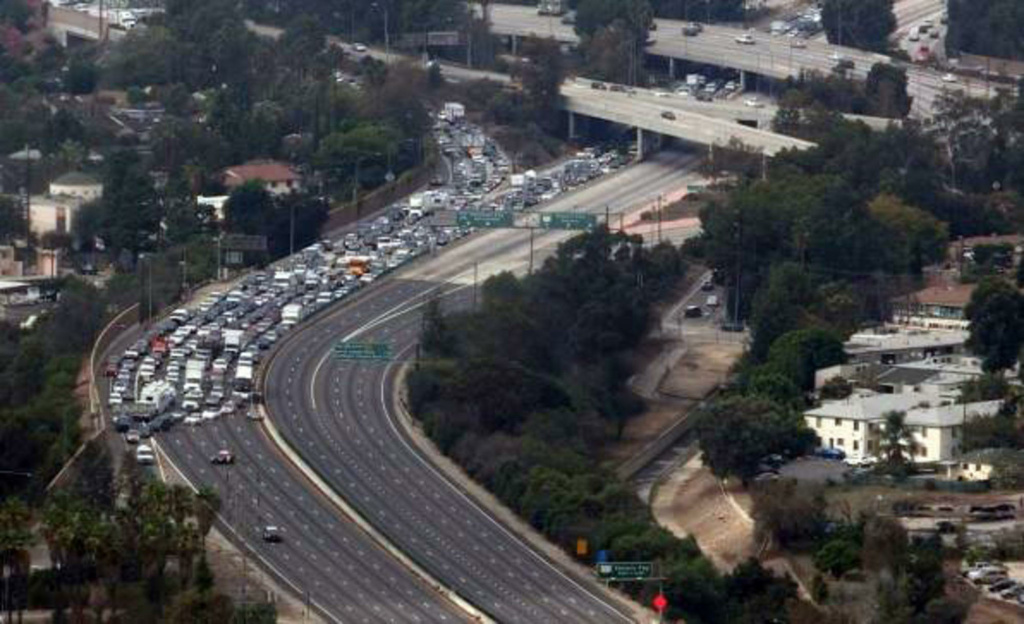 A traffic jam on the 101 Freeway in Studio City on Friday, Oct. 16, 2015.
