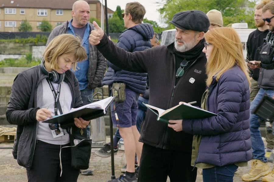 Screenwriter Krysty Wilson-Cairns, right, on the set of