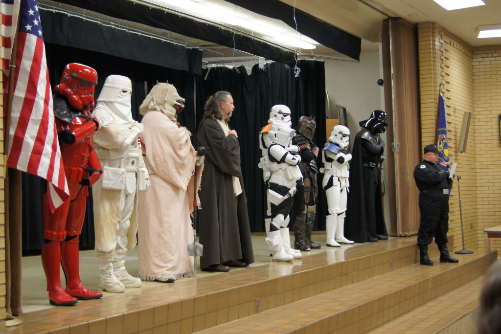 Members of the Star Wars costuming organization 501st Legion at an anti-bullying assembly in Utah. The group hopes to bring the program to LAUSD schools.