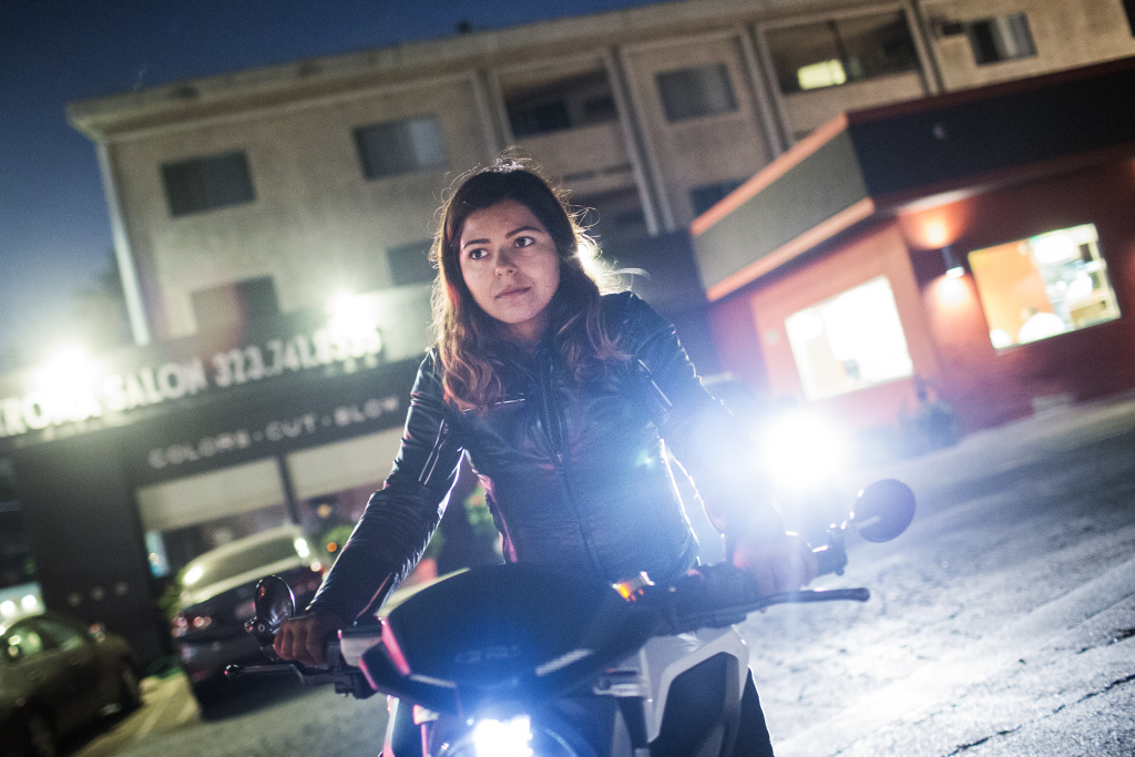 Maria Delgado has been riding for four years —she's also a motorcycle riding instructor.