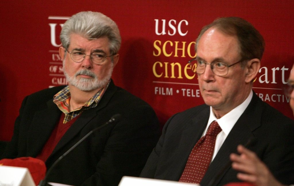 Director George Lucas (L) and USC President Steven B. Sample speak during the ceremony to commemorate Lucasfilm's donation of $175 million to support USC's School of Cinematic Arts on October 4, 2006 in Los Angeles, California.