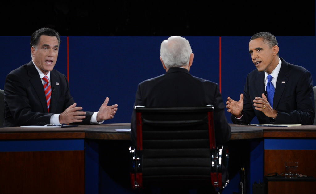 President Barack Obama debates with Republican presidential candidate Mitt Romney on Oct. 22, 2012 at the start of the third presidential debate at Lynn University in Boca Raton, Florida.