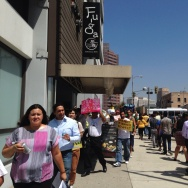 More than 80 people on Wednesday march outside the Izakaya Fuga bar and restaurant to protest alleged 'wage theft' violations at the business.