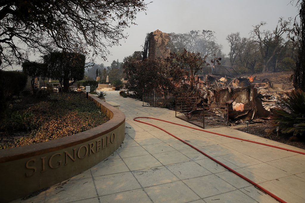 The remains of the fire damaged Signarello Estate winery after an out of control wildfire moved through the area on October 9, 2017 in Napa, California.
