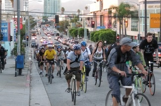 Bicyclists in Los Angeles.