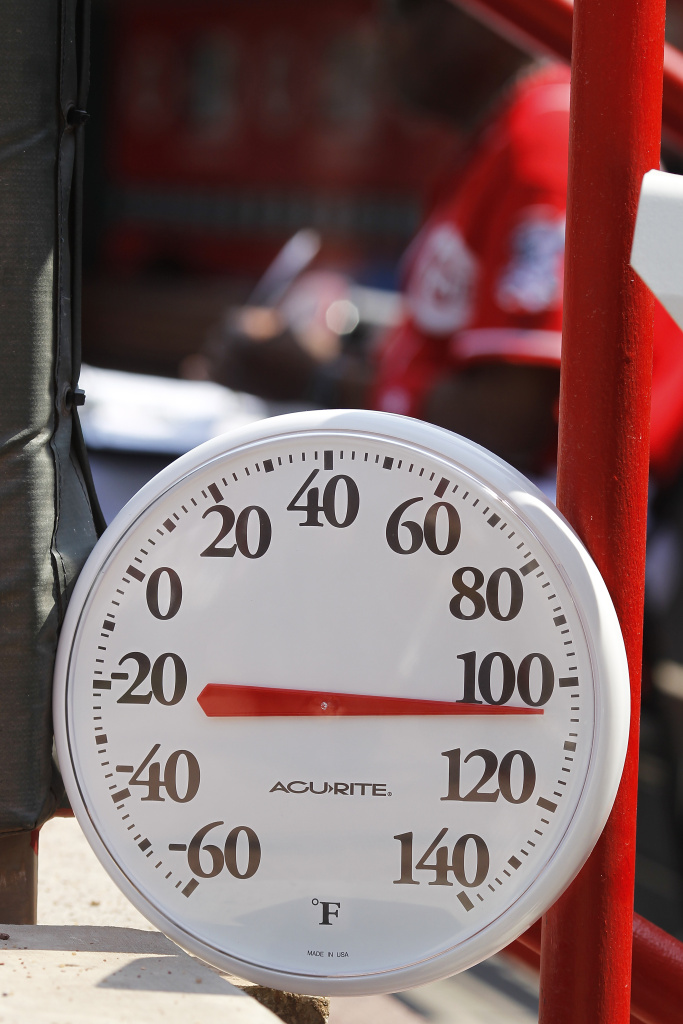 The National Weather Service reports that the temperature hit 96 degrees Saturday in downtown Los Angeles.