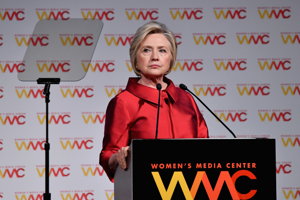 Hillary Rodham Clinton accepts an award onstage at the 2017 Women's Media Awards at Capitale on October 26, 2017 in New York City.