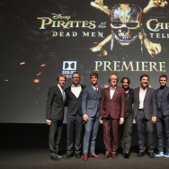 (L-R) Producer Jerry Bruckheimer, Director Espen Sandberg, actors Brenton Thwaites, Geoffrey Rush, Johnny Depp, Javier Bardem, Orlando Bloom, Kaya Scodelario and Director Joachim Ronning.