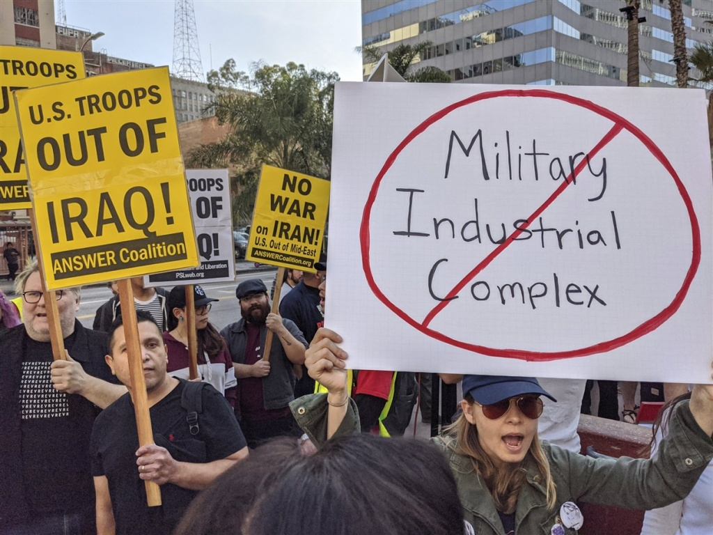 Activists gather in Los Angeles on Saturday January 4, 2020 to protest recent U.S. military actions in Iraq.