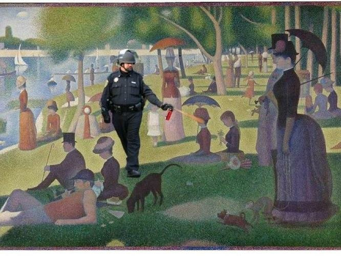 "UC Davis officer is an Internet meme in Georges Seurat's famous pointillist painting ""A Sunday Afternoon on the Island of La Grande Jatte."""