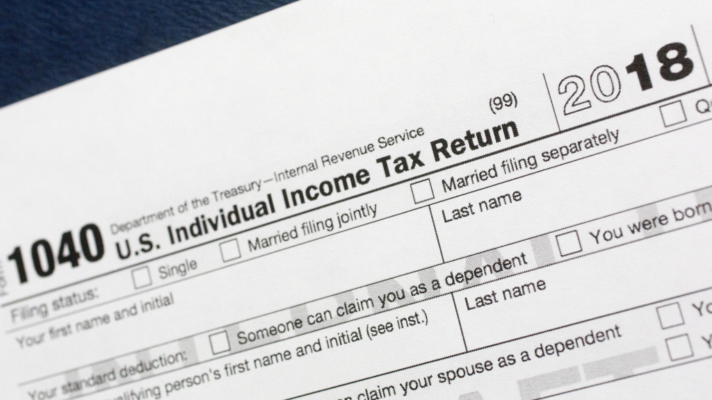 A 1040 U.S. Individual Income Tax Return form for 2018.