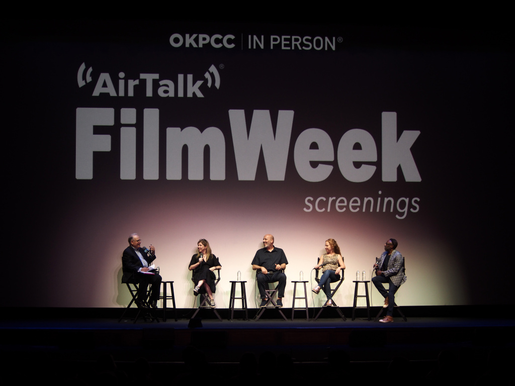 FilmWeek host Larry Mantle with Boogie Nights panelists producer JoAnne Sellar, two-time Academy Award-winning costume designer Mark Bridges, women's, gender, and sexuality studies professor Shira Tarrant and film critic Tim Cogshell