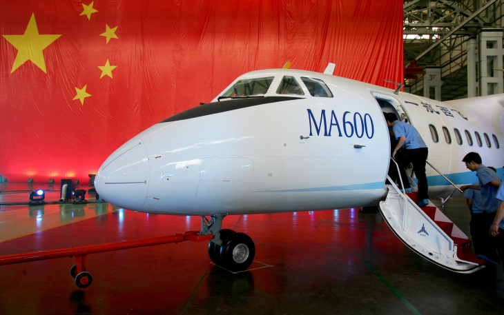 The first China made regional aircraft 'Modem Ark (MA)600' during a ceremony to unveil the plane at the Xi'an Aircraft Industry (Group) Company Ltd. of China Aviation Industry Corporation on June 29, 2008 in Xian, China.