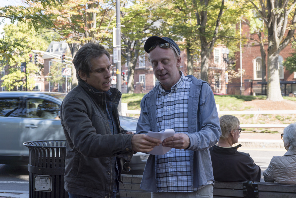 """Ben Stiller and writer-director Mike White on the set of """"Brad's Status."""""""