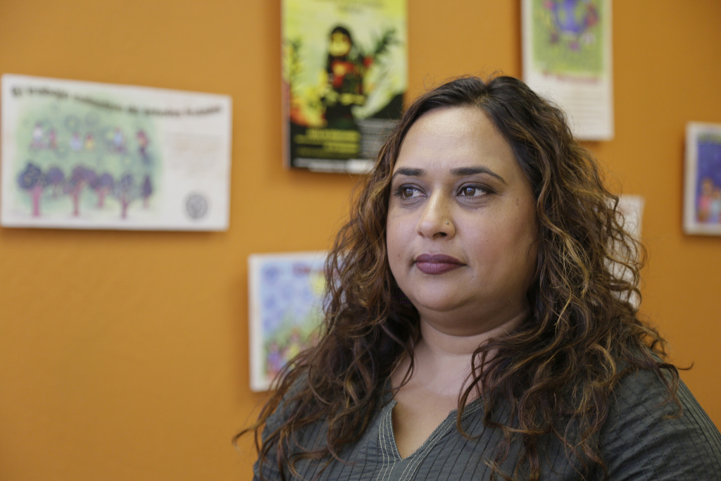 In this photo taken Friday, Sept. 2, 2016, Rajasvini Bhansali, executive director of the International Development Exchange, also known as IDEX, poses at her office in San Francisco. IDEX is managing the Black Lives Matters' financial affairs, allowing the group to focus on its mission, including building local chapters and experimenting with its organizational structure.