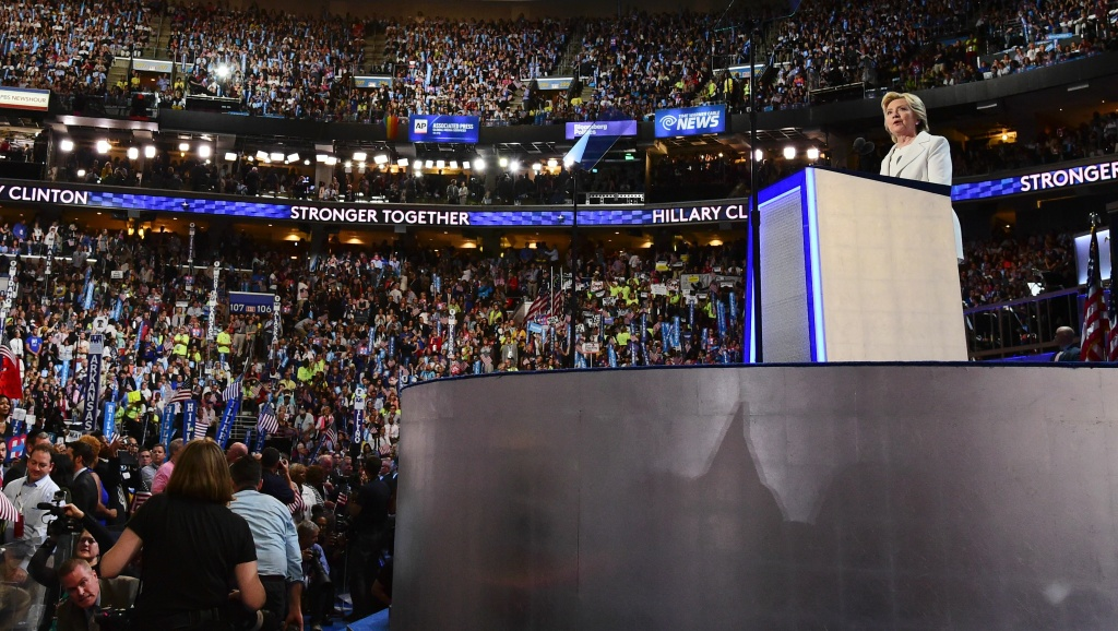 Hillary Clinton accepts the nomination on the final night of the Democratic National Convention at the Wells Fargo Center, July 28, 2016 in Philadelphia, Pennsylvania.