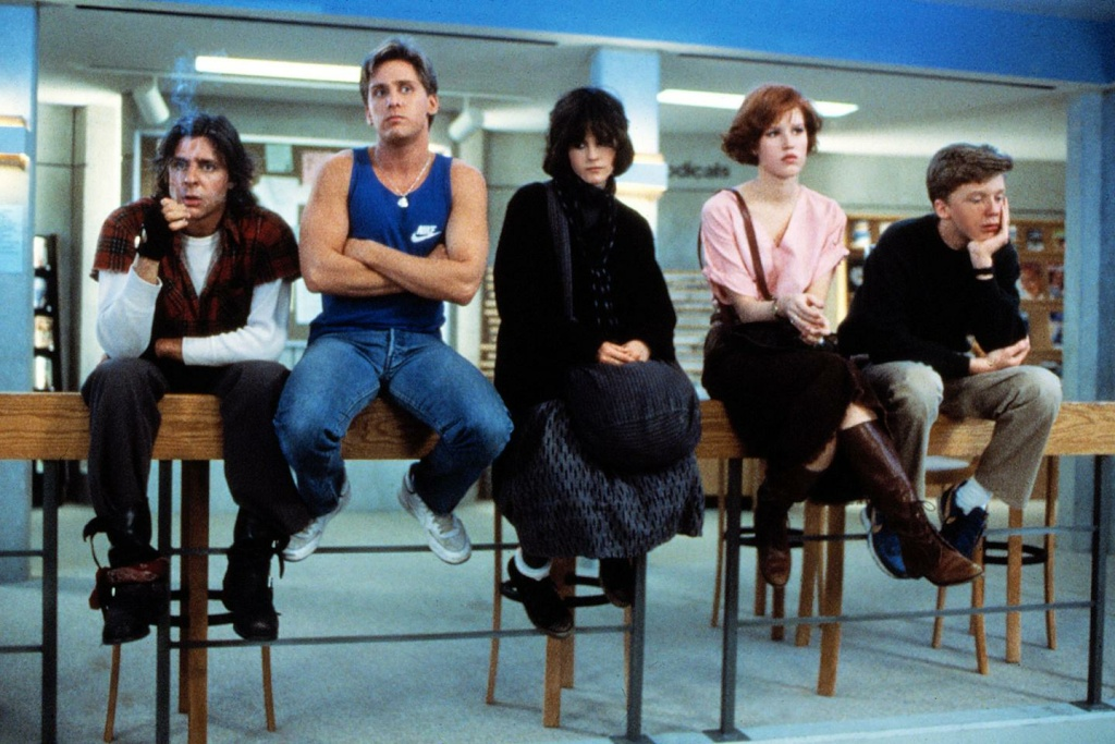 (L-R) Judd Nelson, Emilio Estevez, Ally Sheedy, Molly Ringwald and Anthony Michael Hall in Universal Pictures'