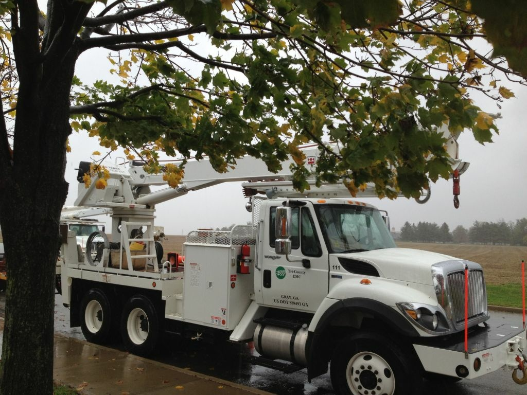 A truck from a Georgia utility stands by to help in the aftermath of Hurricane Sandy.