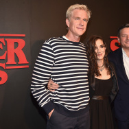 "Actor Matthew Modine, actress Winona Ryder and Chief Content Officer for Netflix Ted Sarandos attend the Premiere of Netflix's ""Stranger Things"" at Mack Sennett Studios."