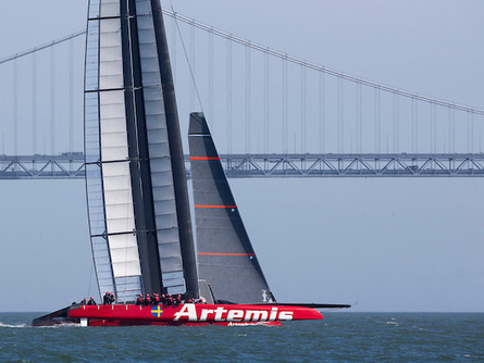 Artemis Racing's AC72 catamaran pictured last month near San Francisco's Golden Gate Bridge.