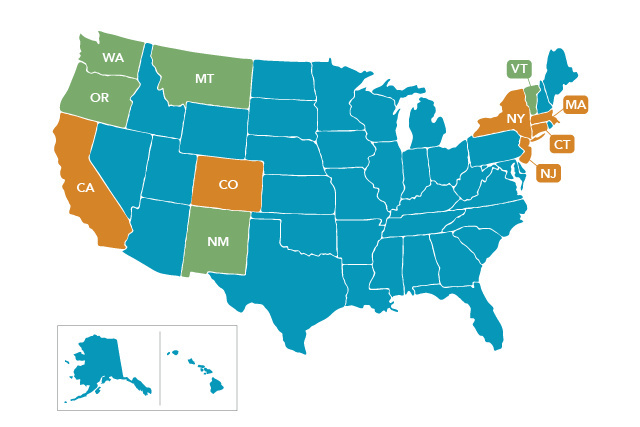 Green denotes states in which aid in dying is authorized, orange denotes states in which Compassion & Choices is currently running advocacy campaigns, and blue denotes states that have yet to see cohesive end-of-life rights movements.