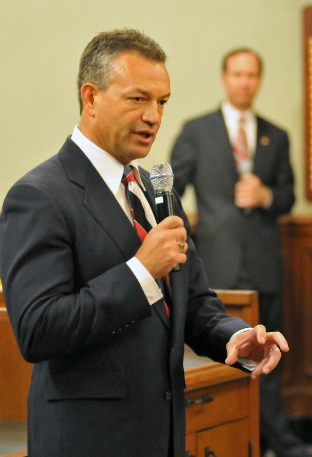 Pasadena's new police chief, Phillip Sanchez, addresses community leaders and news reporters June 15, 2010.
