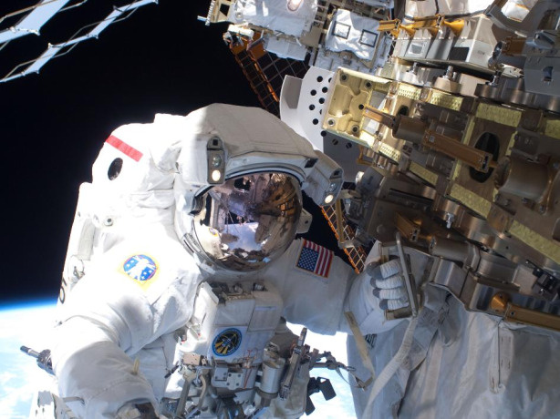 During the STS-131 mission's first spacewalk, which lasted about 6.5 hours, NASA astronaut Rick Mastracchio helped move a new 1,700-pound ammonia tank from space shuttle Discovery's cargo bay to a temporary parking place on the station, retrieved an experiment from the Japanese Kibo Laboratory exposed facility and replaced a Rate Gyro Assembly on one of the truss segments.