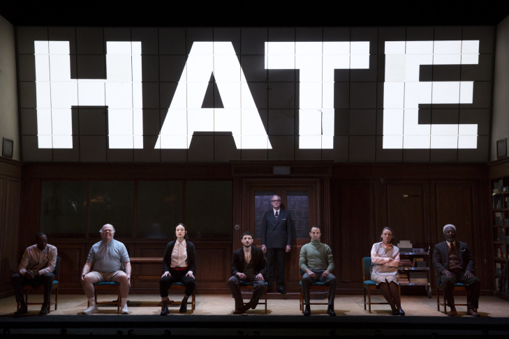 "The cast of Broadway's ""1984"" at the Hudson Theatre."