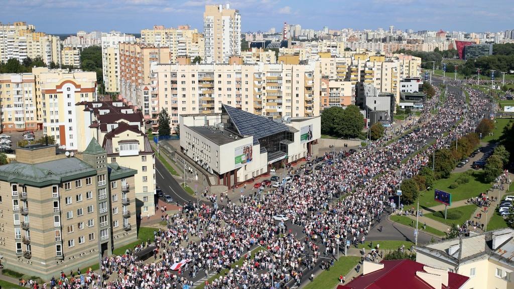 Opposition supporters protest against authoritarian leader Alexander Lukashenko in Minsk on Sunday.