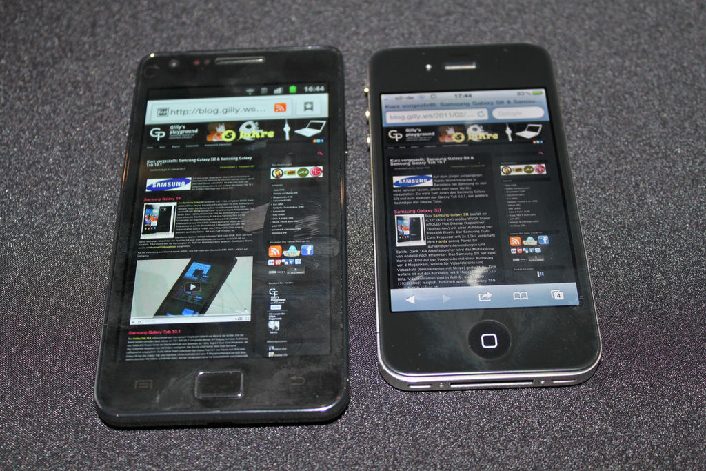 An Android and an iPhone side-by-side.