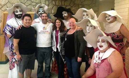 Organizing members of the future Pasadena Pride Center posing with the charity/street performance organization The Sisters of Perpetual Indulgence at a March fundraiser. Pictured (from L-R) Aiden Aizumi, Aaron Saenz, Janette Ledea and Mary Aizumi.