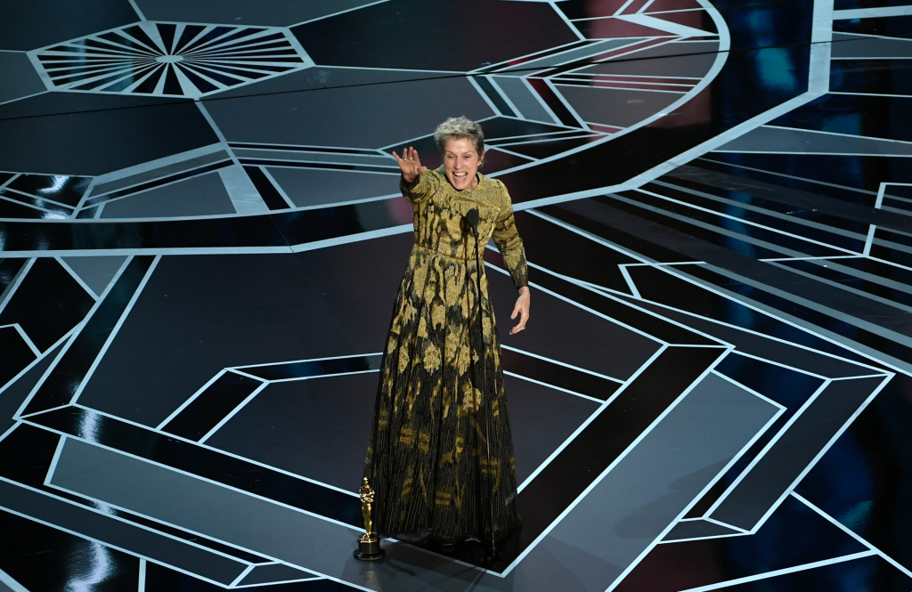 Actor Frances McDormand accepts Best Actress for 'Three Billboards Outside Ebbing, Missouri' onstage during the 90th Annual Academy Awards.