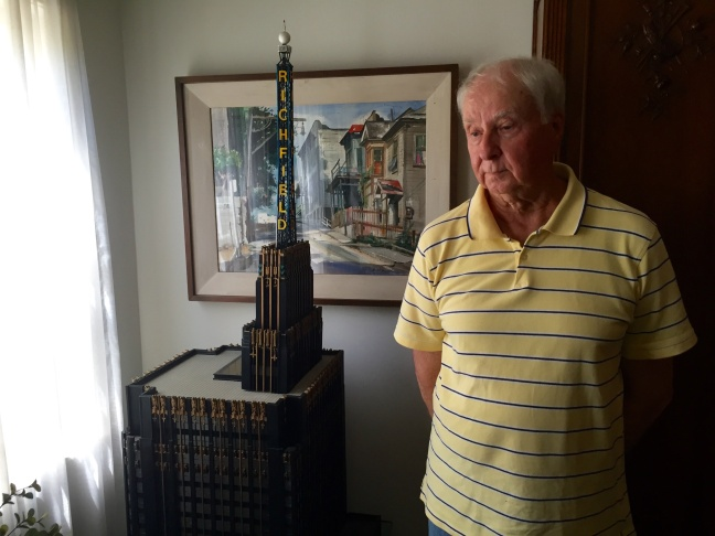Saddened by the demolition of Richfield Tower, Gerald Cox began to craft a miniaturized version of it. It was the first of many that he's made over the years.