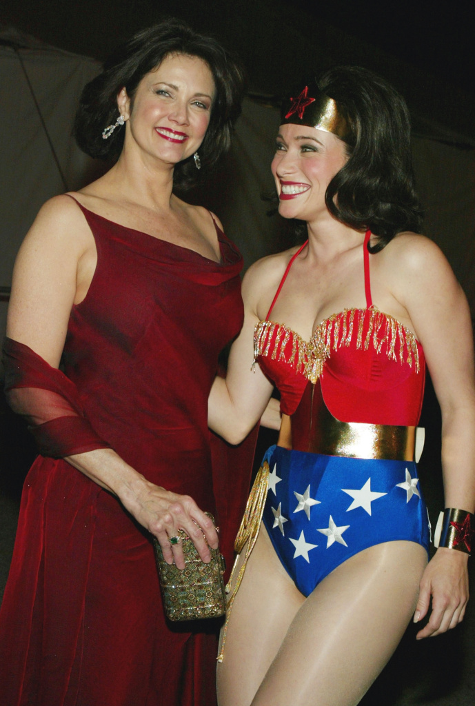 Former 'Wonder Woman', actress Lynda Carter and Wonder Woman on stage at the 2nd Annual TV Land Awards held at The Hollywood Palladium, March 7, 2004 in Hollywood, California.